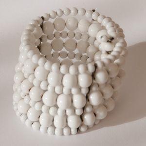 50's Vintage Milk Glass Bead Cuff Bracelet